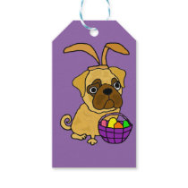 Funny Pug Dog with Easter Bunny Ears Gift Tags