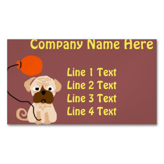 Funny Pug Dog with Orange Balloon Business Card Magnet