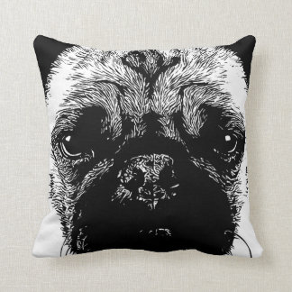 Funny Pug Face Throw Pillow