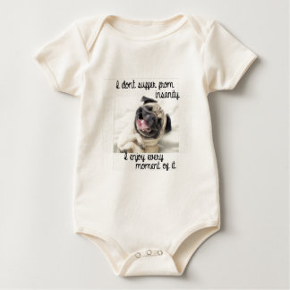 funny pug insanity baby bodysuit