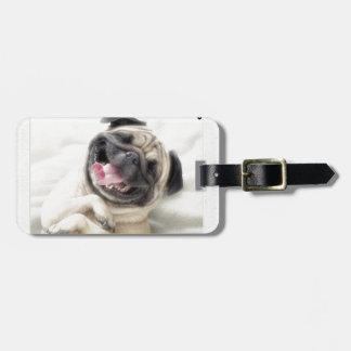 funny pug insanity bag tag