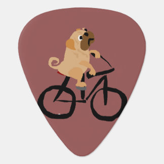 Funny Pug Puppy Dog Riding Bicycle Guitar Pick