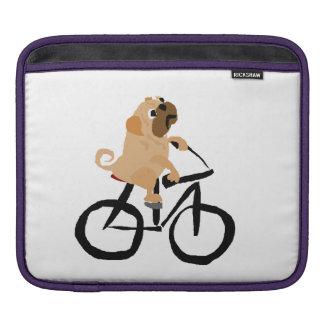 Funny Pug Puppy Dog Riding Bicycle iPad Sleeves