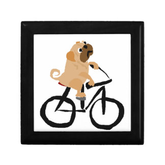Funny Pug Puppy Dog Riding Bicycle Jewelry Box