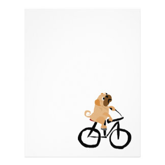 Funny Pug Puppy Dog Riding Bicycle Letterhead