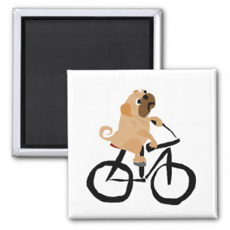 Funny Pug Puppy Dog Riding Bicycle Magnet