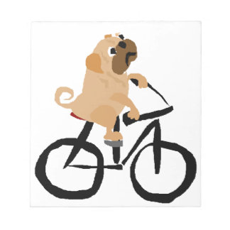 Funny Pug Puppy Dog Riding Bicycle Notepad
