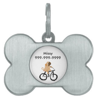 Funny Pug Puppy Dog Riding Bicycle Pet Name Tags