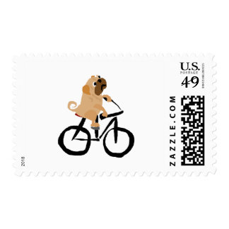Funny Pug Puppy Dog Riding Bicycle Stamp
