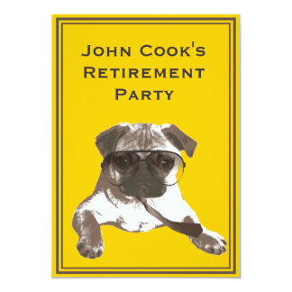 Funny Pug with Tie Retirement Party Invitation