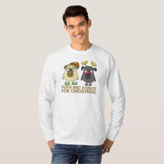 Funny Pugs and Kisses Christmas   Sleeve Shirt