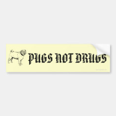 Funny Pugs Not Drugs Pug Dog Bumper Stickers at Zazzle