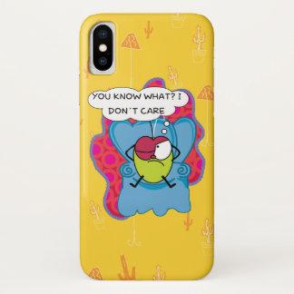 Funny Pulga the flea cartoon, I don't care iPhone X Case