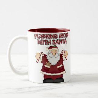 Funny Pumping Iron With Santa Coffee Mug