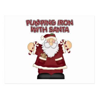Funny Pumping Iron With Santa Postcard