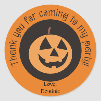 Funny Pumpkin Custom Halloween Party Stickers