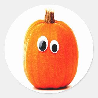 funny pumpkin face classic round sticker
