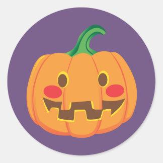 Funny Pumpkin Faces Classic Round Sticker