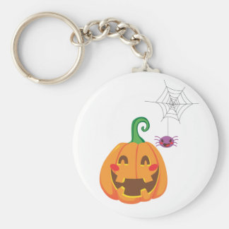Funny Pumpkin Faces Basic Round Button Keychain