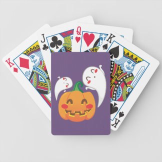 Funny Pumpkin Faces Bicycle Playing Cards