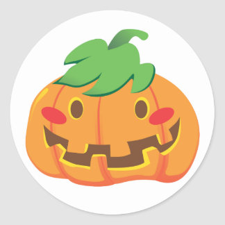 Funny Pumpkin Faces Round Stickers