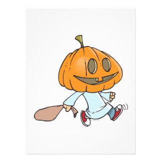 funny pumpkin head trick or treater personalized invitations