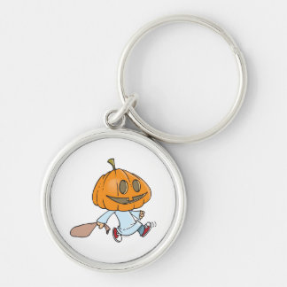 funny pumpkin head trick or treater Silver-Colored round keychain