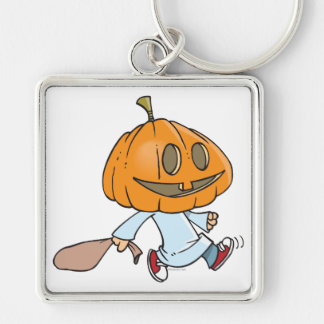 funny pumpkin head trick or treater Silver-Colored square keychain
