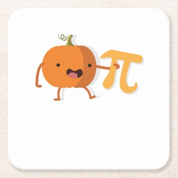 Halloween Themed Funny Pumpkin Pi Halloween Thanksgiving Gift Square Paper Coaster