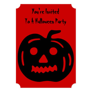 Funny pumpkin with cut out face halloween party card