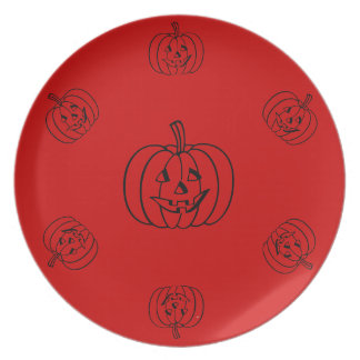 Funny pumpkin with cut out smiley face halloween dinner plate