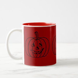 Funny pumpkin with cut out smiley face halloween Two-Tone coffee mug