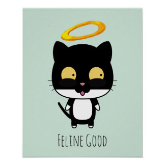 Funny Pun Black Cat With A Golden Halo Cartoon Poster