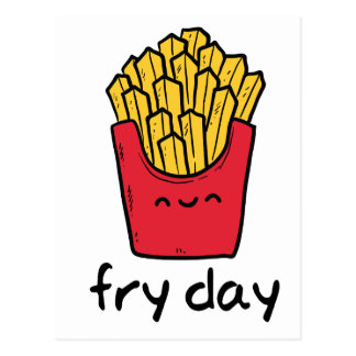 Funny pun Friday happy french fries cartoon Postcard