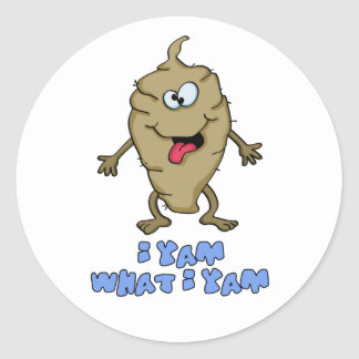 Funny Pun - I Yam What I Yam Classic Round Sticker