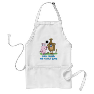 Funny Pun - Pork Calling The Cattle Black Adult Apron
