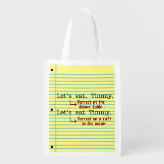 Funny Punctuation Grammar Grocery Bag