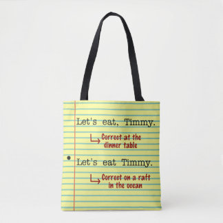 Funny Punctuation Grammar   Let's Eat Timmy Yellow Tote Bag