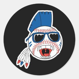 Funny Punk Baseball Classic Round Sticker