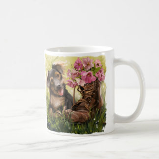 Funny puppy and shoes with flowers coffee mug