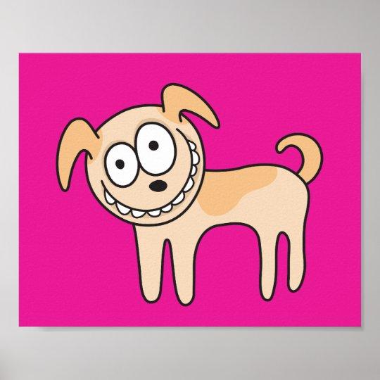 Funny puppy dog animal cartoon hot pink poster