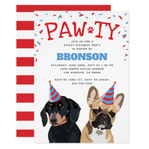 Funny Puppy Dog Birthday Party Invitation