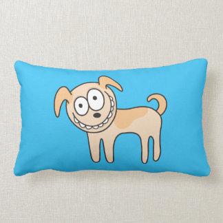 Funny puppy dog cute kids animal cartoon on blue lumbar pillow