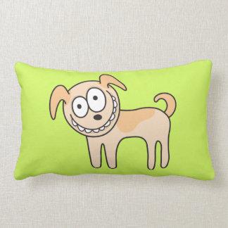 Funny puppy dog cute kids animal cartoon on green lumbar pillow