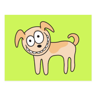 Funny puppy dog cute kids animal cartoon on green post cards