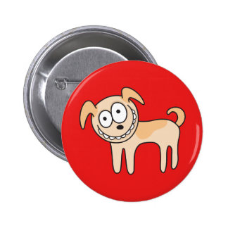 Funny puppy dog cute kids animal cartoon on red button