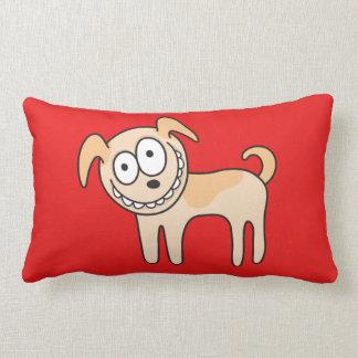 Funny puppy dog cute kids animal cartoon on red lumbar pillow