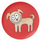 Funny puppy dog cute kids animal cartoon on red plate