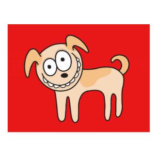 Funny puppy dog cute kids animal cartoon on red postcard