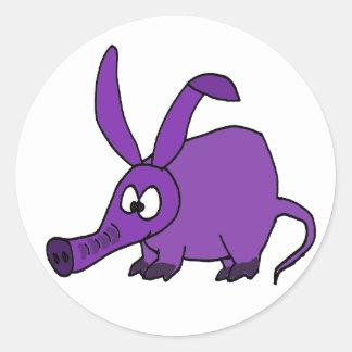 Funny Purple Aardvark Round Stickers